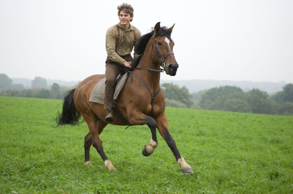 "WAR HORSE""..DM-AC-25226..Albert Narracott (Jeremy Irvine) joyfully rides atop his beloved horse, Joey in DreamWorks Pictures' ""War Horse"", director Steven Spielberg's epic adventure and an unforgettable odyssey through courage, friendship, discovery and wonder...Ph: Andrew Cooper, SMPSP..©DreamWorks II Distribution Co., LLC. ÊAll Rights Reserved."