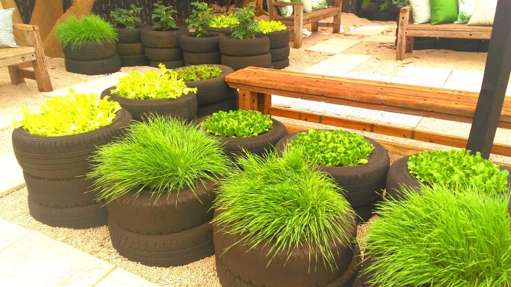 Pneus também dão uma boa ideia de horta orgânica | Crédito: Camila Honorato